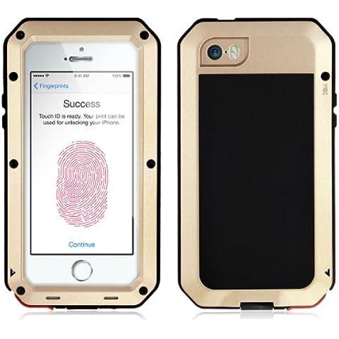 Alienwork Armour Extreme Custodia per iPhone SE/5/5S adatto per impronte Cover Case Bumper oro champagne Metallo oro AP532-04