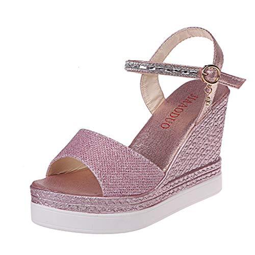 Kinlene Sandalias Zapatillas Zapatos de tacón Damas de Mujer Moda Cuñas Zapatos causales Zapatos súper Altos Sandalias(Rosado,35)