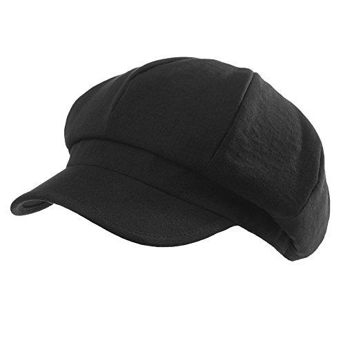 SIGGI Damen Schirmmütze Barett Mütze 8-Panel Newsboy cap Schwarz