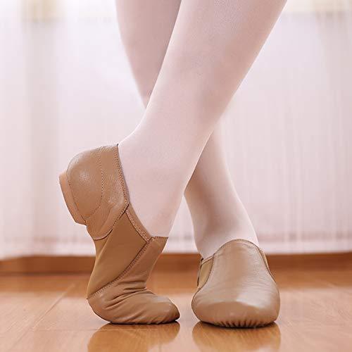 DoGeek Jazzschuhe Damen Tanzschuhe Sportschuhe aus Weichem Leder Dance Schuhe mit Schweinsleder Jazz Schuhe zum hineinschlüpfen Geteilter Sohle für Kinder, und Erwachsener in Gr.35-42 - 6
