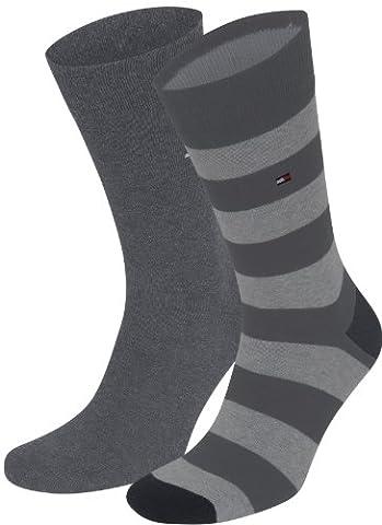 4er Pack Tommy Hilfiger Fun Rugby Herren Socken (43/46, anthrazit/melange)