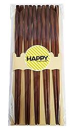 1 , Brown : Happy Sales 5 Pairs Spiral Wooden Chopstick Set Brown