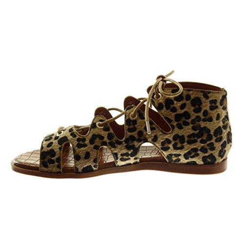 Angkorly Chaussures Mode Haut Gladiateur Sandales Femme Dentelle Crocodile Talon Plat Talon 1 Cm Léopard