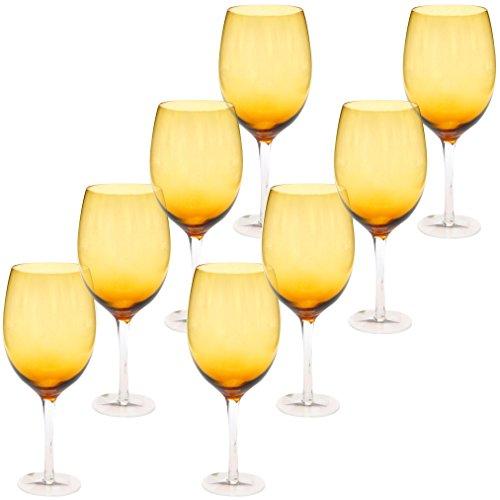 Certified International White Wine Stemware Glass (Set of 8), 20 oz, Dark Amber by Certified International Certified International Glass Stemware