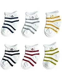 FYGOOD Lot de 6pcs Chaussettes Coton Souple pour Bébé Enfant 0-3ans
