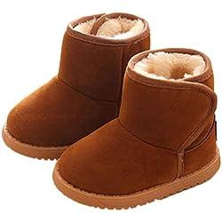 Hukz bambino neonato 1–6anni ragazza ragazzo Keep Warm Solid suola morbida primi passi neve stivali, Cotone, Brown, 18-24 mesi