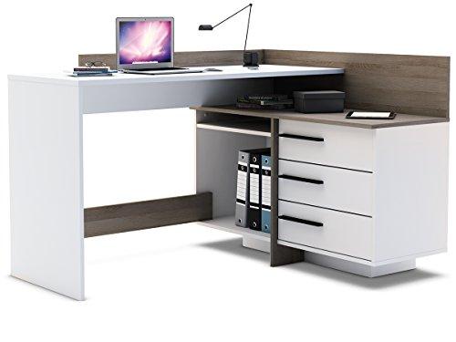 Thales Eck-PC Schreibtisch Weiß mit Absatz Eiche