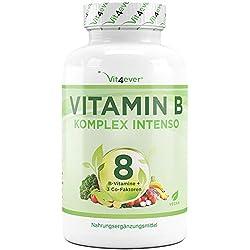 Super Vitamin B Komplex Intenso - 180 Kapseln - 8 B-Vitamine + 3 Co-Faktoren – Bis zu 10-fach höher dosiert - Hohe Bioverfügbarkeit - Laborgeprüft - Hochdosiert - Vegan - Premium Qualität