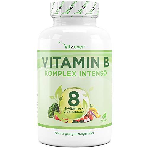 Vit4ever® Vitamin B Komplex Intenso - 180 Kapseln - 8 B-Vitamine + 3 Co-Faktoren - Bis zu 10-fach höher dosiert - Hohe Bioverfügbarkeit - Laborgeprüft - Hochdosiert - Vegan - Premium Qualität (Vitamin-b-komplex)