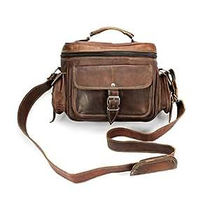 A.P. Donovan - Leder Kamera-Tasche mit Trage-Griff - Fototasche, auch Platz fürs Objektiv und Spiegelreflex - zum Umhängen