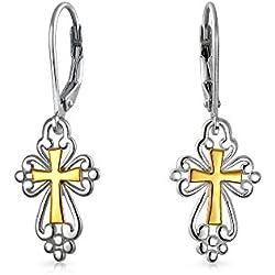 Cruz cuelgan Leverback pendientes de filigrana medieval religiosa en dos tonos de oro chapado de plata 925 0.75 En