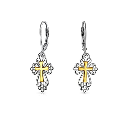 Two Tone Antique Style Religious Cross 925 Silver Dangle Earrings