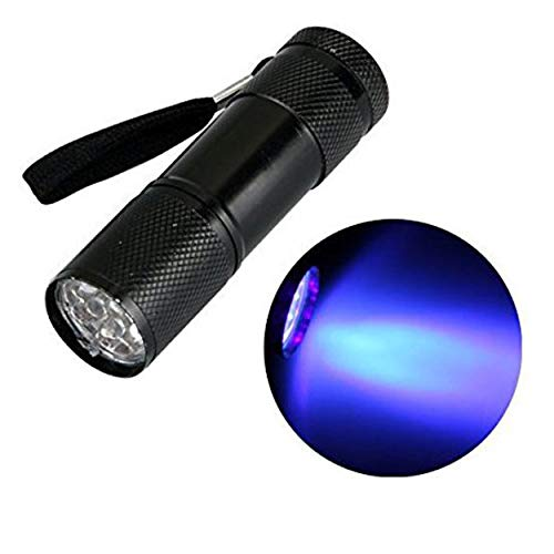 Torcia a 9 LED UV, in alluminio, alimentazione a batterie AAA