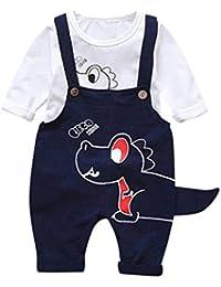 Ropa para Bebe,RETUROM 3PCS 2 Unids Niño Bebé Niñas Dinosaurio de Dibujos Animados Tops Tirantes Pantalones Trajes Conjunto
