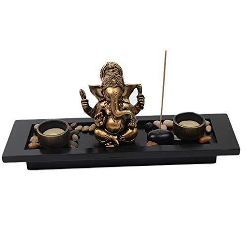 HTDZDX Ornamentos de la Resina de Escritorio de la Vela de la Estatua del Ornamento de Dios del Elefante, Regalo de los Tenedores - 13.8x4.1x5.5in