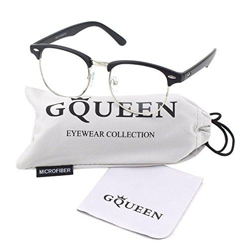 GQUEEN Vintage Inspirierte Halbrahmen Klare Gläser Brille PF6