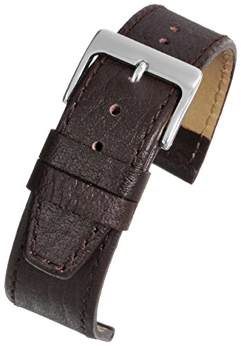 Kalb Leder Uhrenarmband braun Buffalo Getreide chrom Schnalle 16mm