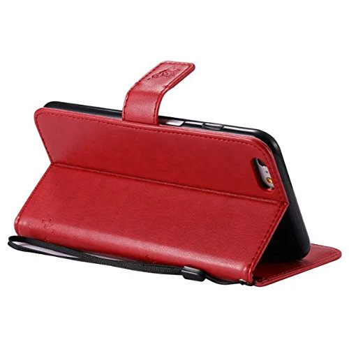 JIALUN-Telefon Fall Mit Kartensteckplatz, Lanyard, Druck Schöne Muster Mode Open Handy Shell Für IPhone 6s Plus ( Color : Blue ) Red