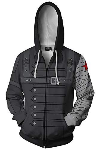 America Captain Kostüm Soldier Super - MingoTor Herren Damen Kapuzenjacke Dicker Pullover mit Kapuze Sweatjacke Hoodie Schwarz S