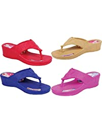 KAYSTAR 2113 Combo Pack Of 4 Stylish & Trendy Look Red,Blue,Pink And Cream Wedges Heel Slipper For Women And Girls