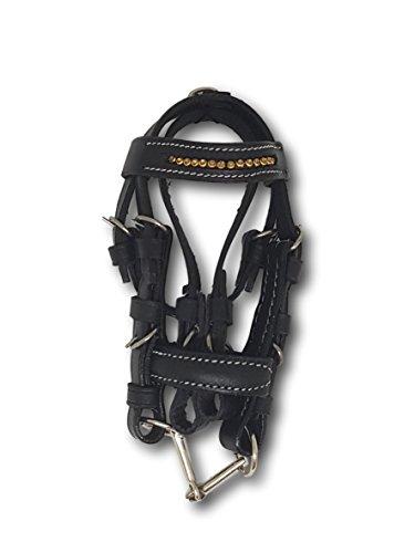 Pferdelinis Minitrense Schlüsselanhänger für Dekoration, Auto, Schlüsselbund - Schwarze Miniaturtrense Leder mit Strasssteinen in Silber, Gold, schwarz, türkis (Gold)