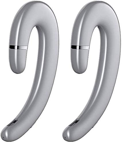 ZGYQGOO Kabellose Bluetooth V5.0 IPX5 wasserdichte binaurale Kopfhörer zur Reduzierung von Ohrgeräuschen ohne Ohrstöpsel Schmerzfreie Stereoanlage mit Mikrofon für iPhone und Android, Silber