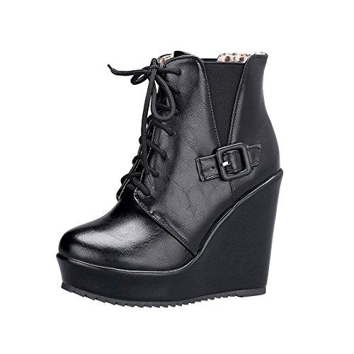 YE Wedges Stiefeletten Damen High Heels Plateau Ankle Boots Keilabsatz Schnür Stiefel(Schwarz,39)