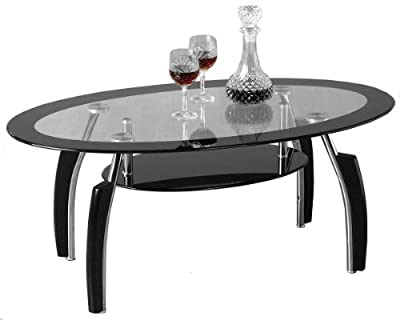 Elena Black and Clear Glass Coffee Table produced by ValuFurniture - quick delivery from UK.