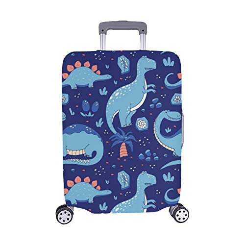 Divertido Dinosaurio de Dibujos Animados Spandex Trolley Funda de Viaje Maleta de Viaje Maleta Protectora 28.5 X 20.5 Pulgadas