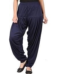 Senseless Navy Blue Color Viscose Party Wear Patiala Pants For Women - B075DCK7F1