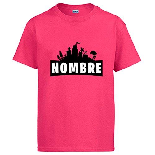 Diver Camisetas Camiseta Fortnite Personalizable con Nombre - Rosa, L