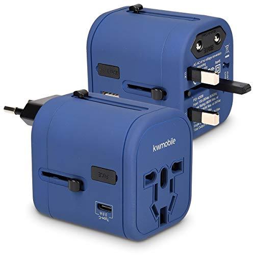 kwmobile adaptador de viaje para 150 países - adaptador de corriente universal con 4 puertos USB - adaptador para viajes 3A tipo C en azul