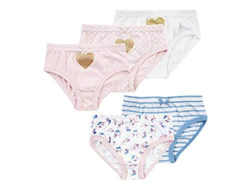 Jacky Mädchen Slip Unterhosen, 5er-Pack, Größe: 86/92, Alter: 1-1,5 Jahre, Rosa/Hellblau/Weiß, 710861
