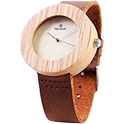Wooden Disc Watches For Women Fashion Casual Watch Leather Strap