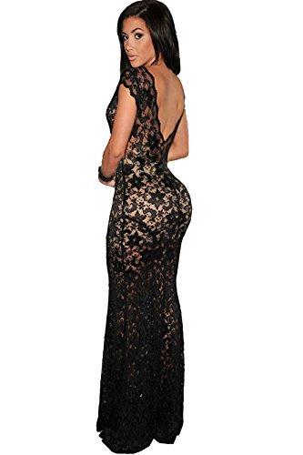 Sexy Damen Maxi Evening kleid Lined Spitze Low V zurück Nude Illusion Schwarz