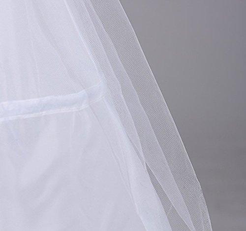 Edith qi Damen Reifrock, 2/3/4 Ringe Unterröcke für Hochzeit Brautkleid, Verstellbar Unterrock Crinoline Petticoat Slip, Eine Größe, für Gr. 34 bis Gr.50 3 Ringe-2 Schichten-No.(8801)