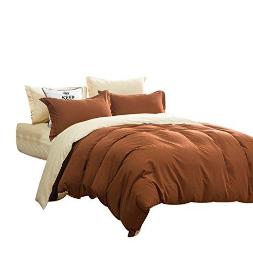 Drap de lit + Housse de couette + taies,Reaso Couleurs solides Linge de maison Drap plat Home Textile Ensemble de literie (King, Cafe 2)