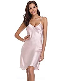 015bd578e0 Vlazom Women Negligees Satin Nightdress Spaghetti Strap Chemises Slip V  Neck Sleepwear Nightgown