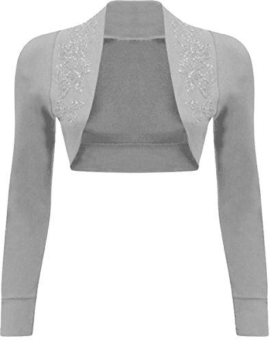Damen Langarm Übergröße Cropped Bolero Shrugs Pailletten - Long Sleeve Light Grey