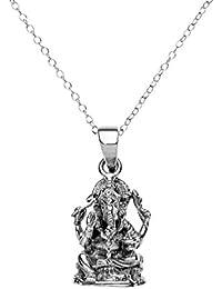 81stgeneration Frauen Männer 925 Sterlingsilber Ganesha Hindi Gott Anhänger mit Halskette, 46 cm