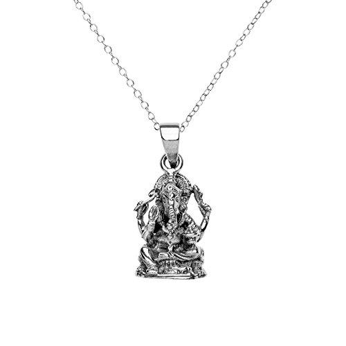 81stgeneration Colgante de Plata de Ley .925 Collar Mujeres Hombres Dios Hindú Elefante Ganesh, 46cm