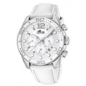 Reloj analógico Lotus 15782/1 de cuarzo para mujer con correa de piel, color blanco