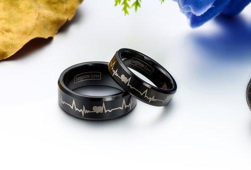 JewelryWe Schmuck 1 Paar Wolfram Wolframcarbid Herzen & Herzschlag Partnerringe Freundschaftsringe Eheringe Trauringe Verlobungsringe Band, Schwarz