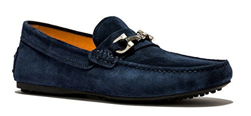 OPP Herren Minimalism Komfort Weich Echtleder Fahren Schuhe Blau-5