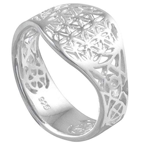 ume Blume des Lebens Mandala glänzend offen Sterling Silber 925 Blume Größe 56 (17.8) RLB56 ()