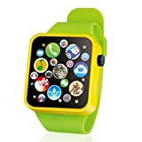 #10: BIMAGE Fashion Music Touch Button Battery Watch Toys Length Adjustable Waterproof for Kids Girls Boys Children Early Learning, Yellow/ Blue/Red (Yellow)