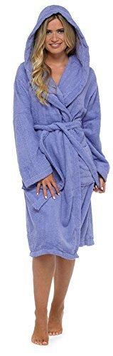 De Luxe Pour Femmes 100% Éponge Coton Peignoir Robe De Chambre Enveloppant Pyjama - Lilas - à capuche, Medium