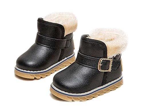 Arrowhunt Baby Junge Mädchen Einfarbig Kunstleder Winter Schuhe Schnee Stiefel Etikett 25 Schwarz