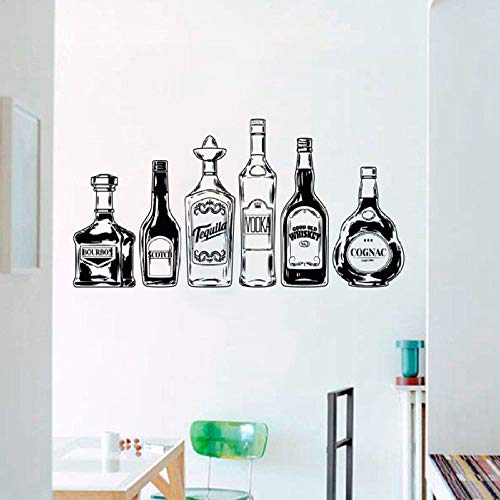 Zhuhuimin Wandtattoo Irish Whiskey Bottle Vinyl Wandaufkleber Alkohol Glasmuster Küche Nachtbar Removable Home Decor 1 42x82 cm -