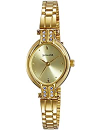 Sonata Analog Gold Dial Women's Watch -NK8064YM01